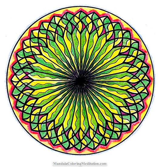 An energetic mandala coloring page. P.S.: you can get the basic coloring ...