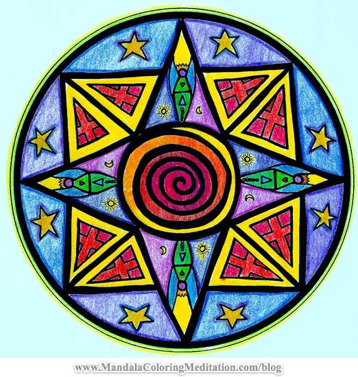 An Intermediate Colored Mandala Coloring Page