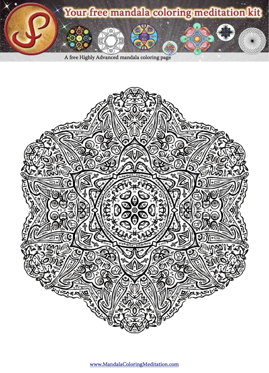 a 6 pointed highly detailed adult mandala coloring page