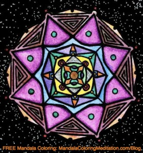 A purple and violed colored mandala coloring page in space
