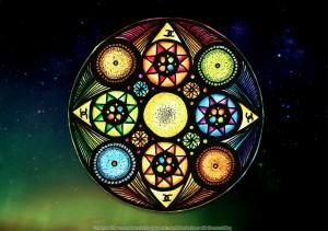 Rainbow, mandala, coloring, page
