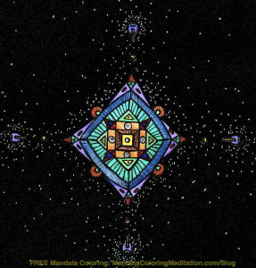 A Square Mandala Coloring Page in Deep Space