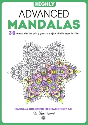 the ebook cover for 30 advanced adult black & white mandalas to color