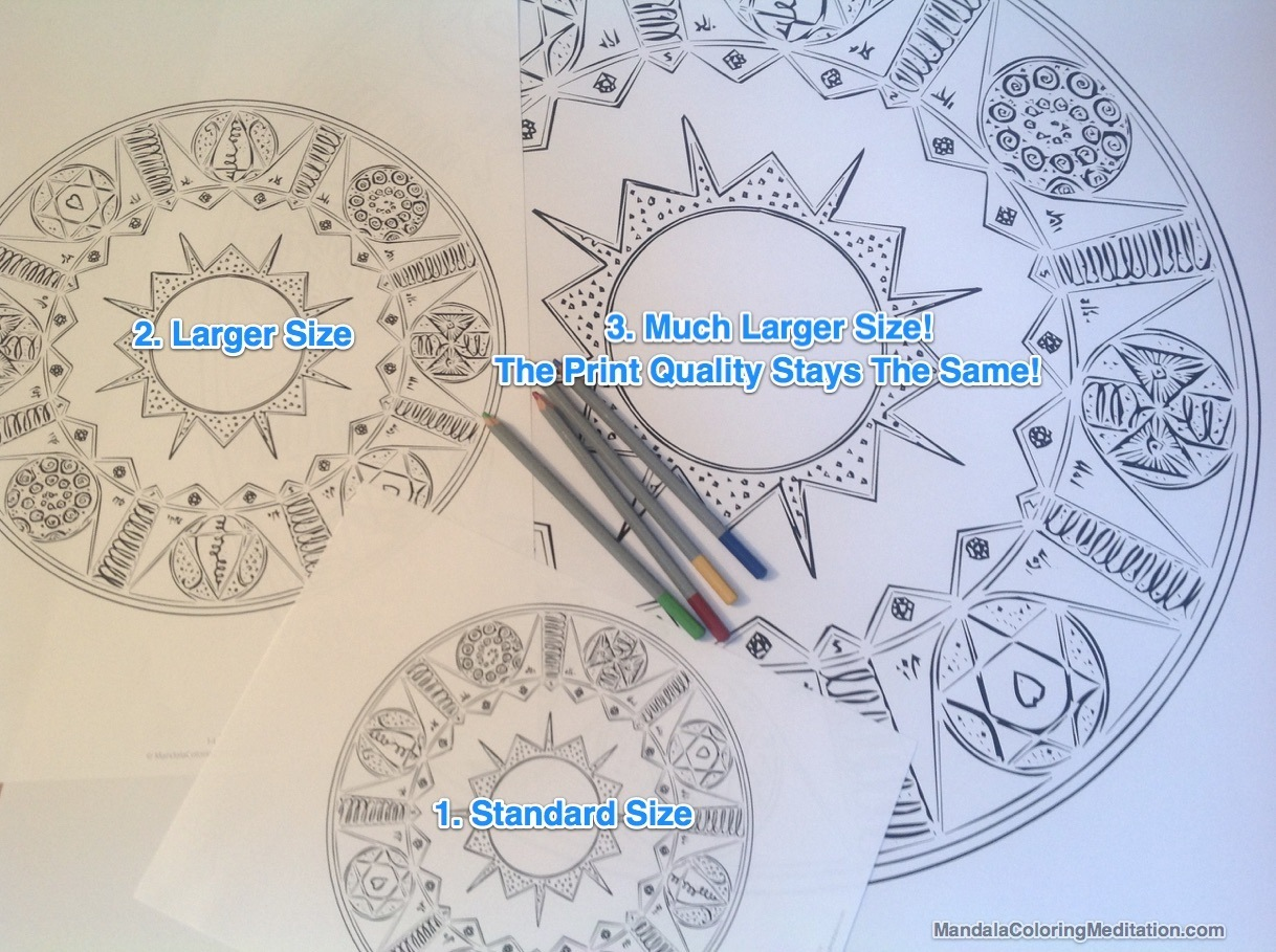 Here you can see you can print the mandala coloring pages in any size you want!