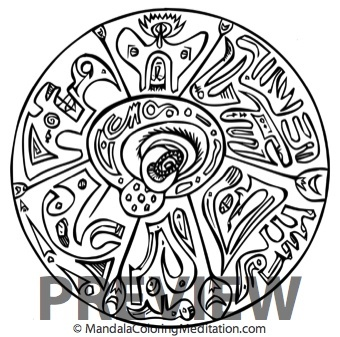 a black and white mandala coloring page from the Creative Mandalas book